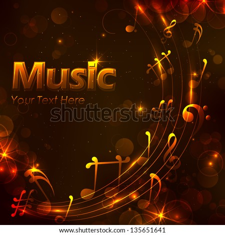 illustration of abstract music note for musical background - stock vector