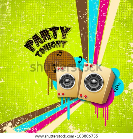 illustration of abstract musical background in retro style - stock vector