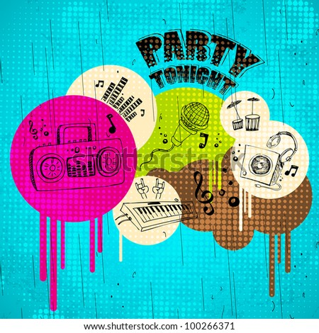 illustration of abstract musical background on grungy spot - stock vector