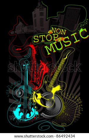 illustration of abstract musical background with guitar, saxophone and violin - stock vector