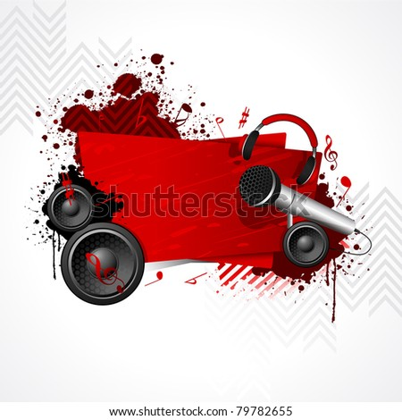 illustration of abstract musical background with microphone and loudspeaker - stock vector