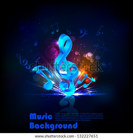 illustration of abstract musical background with note - stock vector