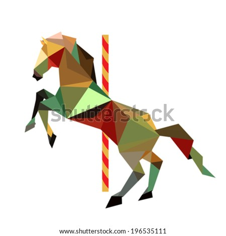 Illustration of abstract origami carousel horse - stock vector