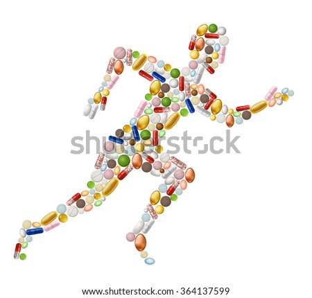 Illustration of abstract running man, made of pills, EPS 10 contains transparency. - stock vector