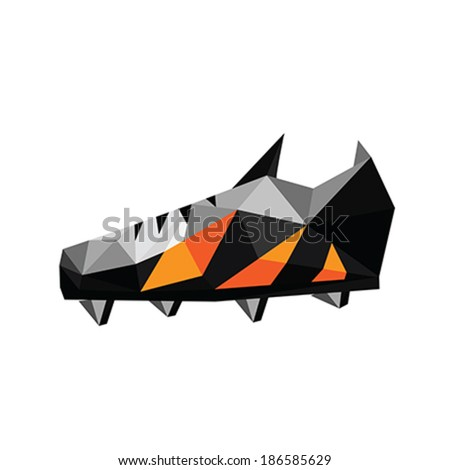Illustration of abstract soccer polygonal shoes on white background - stock vector