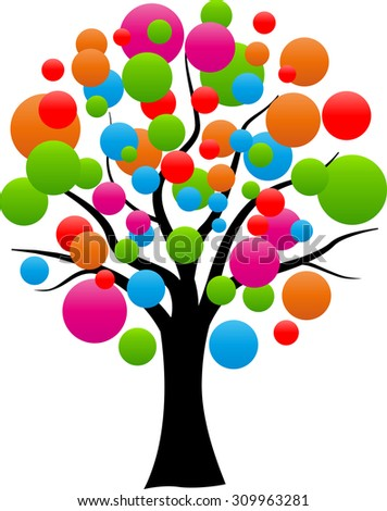 illustration of abstract tree with colorful balloons