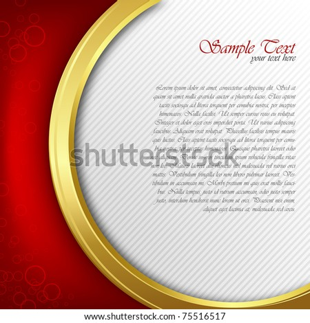 illustration of abstract vector background with red and golden color - stock vector