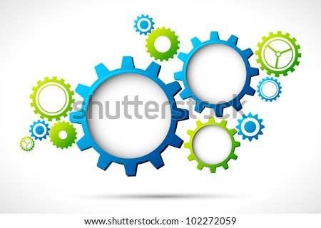 illustration of abstract web design with copy space in cog wheel - stock vector
