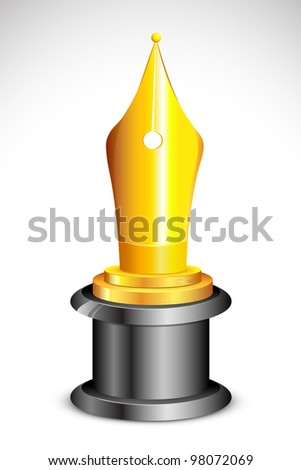 illustration of academic award with golden pen nib