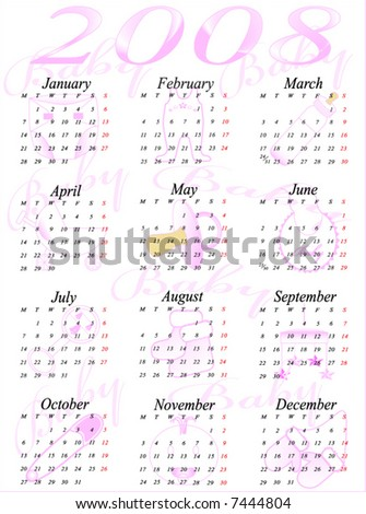 Illustration of accurate calendar for 2008 year - stock vector