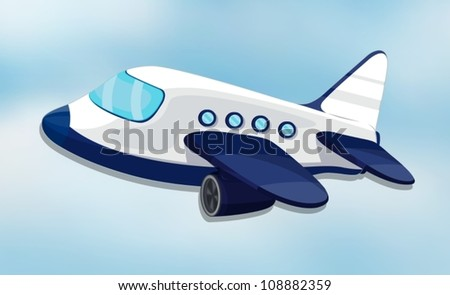 illustration of air plane on a white background - stock vector