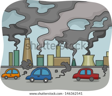 Illustration of Air Pollution - stock vector