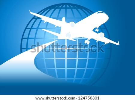 Illustration of airplane flying around earth - stock vector