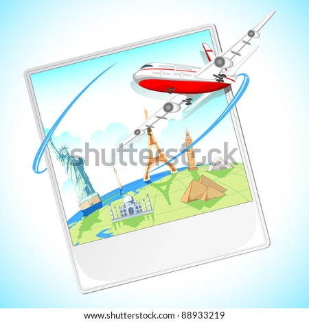 illustration of airplane flying around the photograph of world famous monument - stock vector