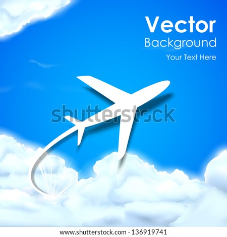 illustration of airplane flying in clouds - stock vector