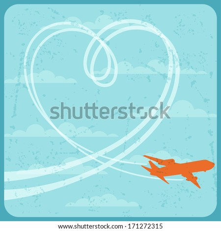 Illustration of airplane flying in the sky. - stock vector