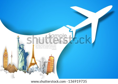 illustration of airplane flying in travel background with monument - stock vector