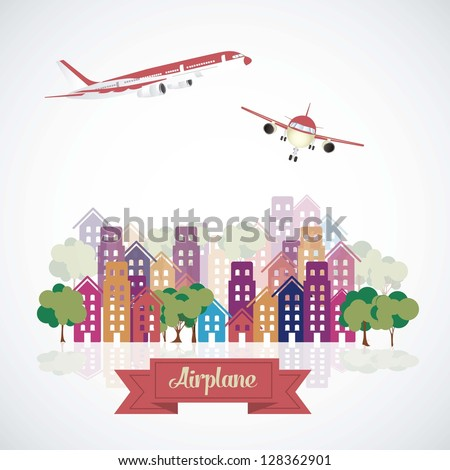 Illustration of airplane icons. Aircraft in the city. vector illustration - stock vector