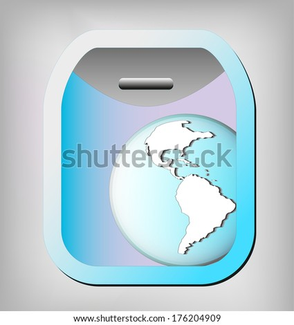 Illustration of airplane window with earth globe. Elements of this image are furnished by NASA  - stock vector