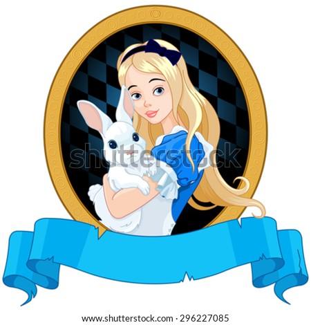 Illustration of Alice holds white rabbit - stock vector