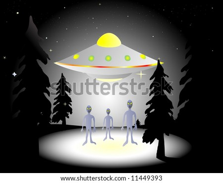 Illustration of aliens and flying saucer in the woods at night - stock vector