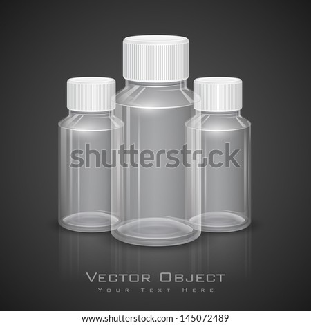 illustration of all purpose transparent bottle with cap - stock vector
