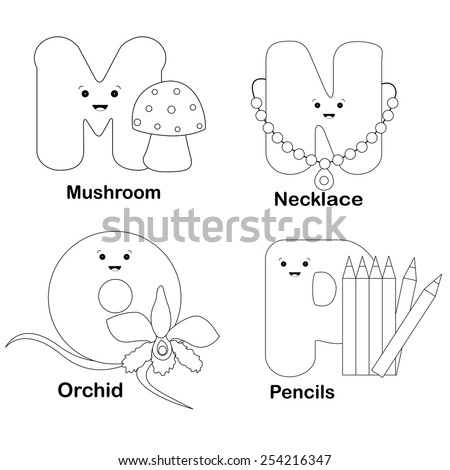Illustration Alphabet Coloring Page Letters M Stock Vector 254216347 ...