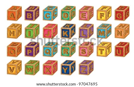 illustration of alphabet cubes on a white background