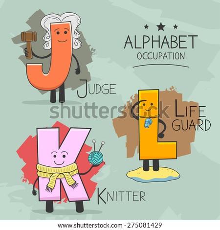 Illustration of alphabet occupation - Judge, Knitter, Lifeguard - stock vector