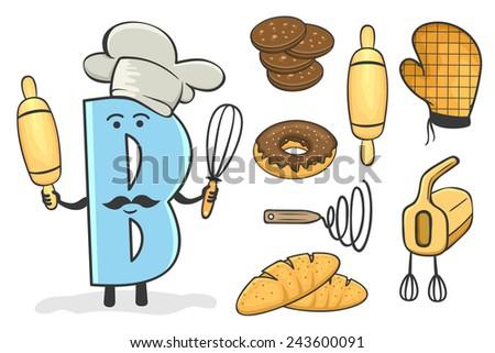 Illustration of alphabet occupation - Letter B for Baker - stock vector