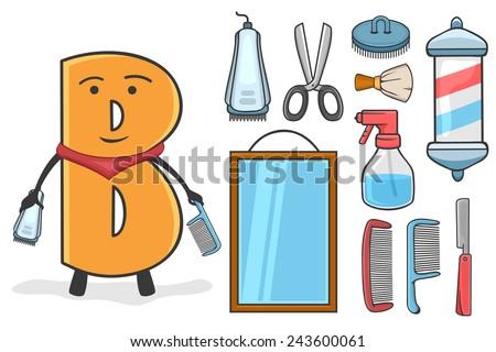 Illustration of alphabet occupation - Letter B for Barber - stock vector