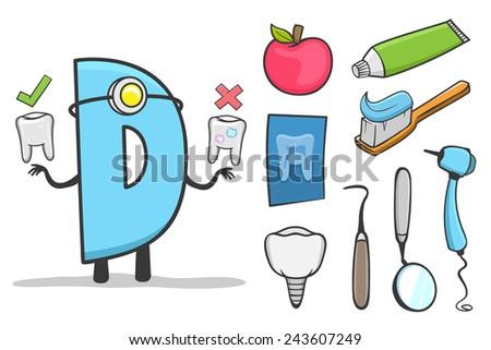 Illustration of alphabet occupation - Letter D for Dentist - stock vector
