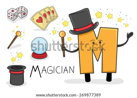 Illustration of alphabet occupation - Letter M for Magician - stock vector