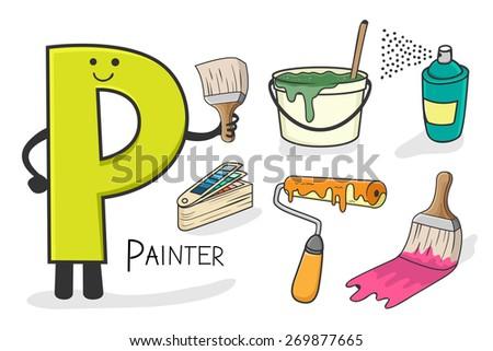 Illustration of alphabet occupation - Letter P for Painter - stock vector