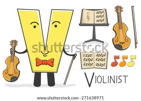 Illustration of alphabet occupation - Letter V for Violinist  - stock vector
