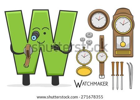 Illustration of alphabet occupation - Letter W for Watchmaker - stock vector
