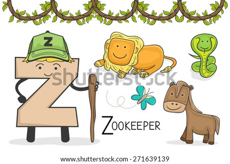 Illustration of alphabet occupation - Letter Z for Zookeeper - stock vector
