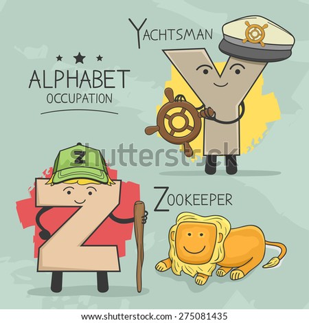 Illustration of alphabet occupation - Zookepper , Yachtsman, - stock vector