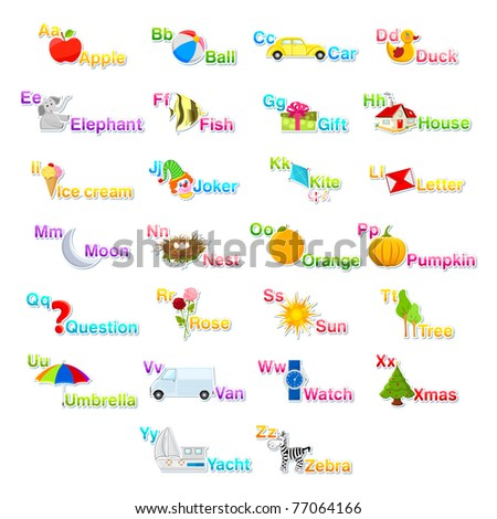illustration of alphabet set with associate objects and number on isolated background - stock vector