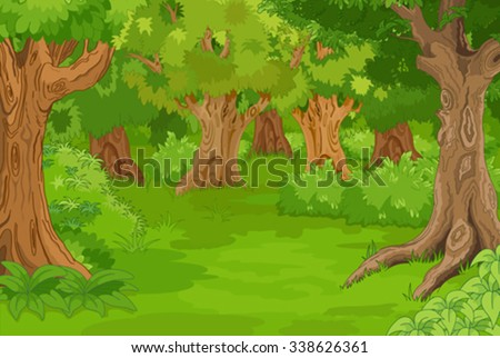 Illustration of amazing forest glade - stock vector
