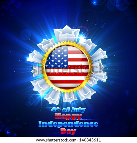 illustration of American Flag Badge with star for Independence Day - stock vector