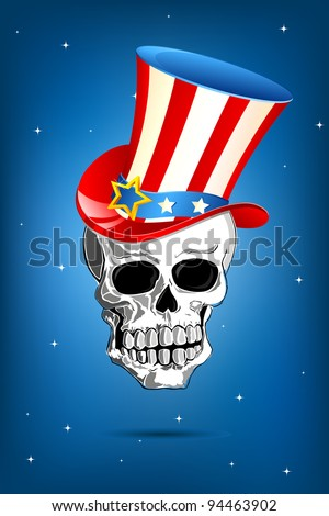 illustration of american flag colored hat on skull - stock vector