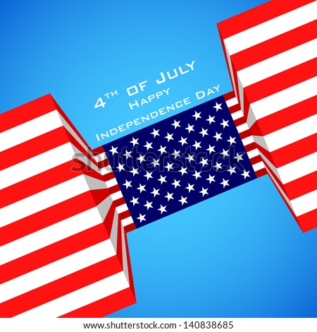 illustration of American Flag for Independence Day - stock vector