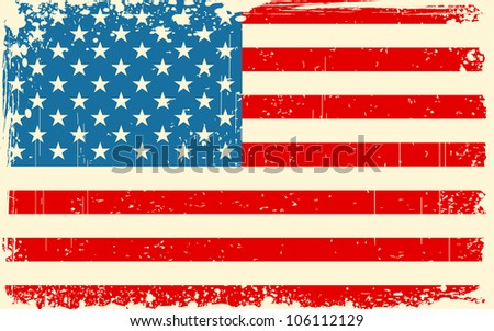 illustration of American Flag with grungy border in retro color - stock vector