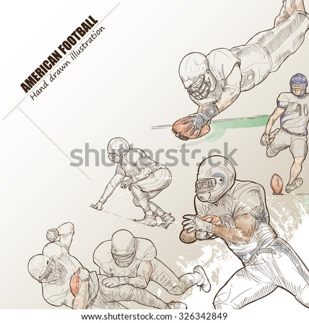 Illustration of American football. hand drawn. American football poster. Sport background. - stock vector