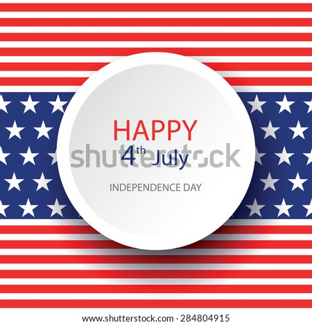 Illustration of American Independence Day of 4th July with circle on flag color seamless background. Perfect for banner, poster and flyer - stock vector
