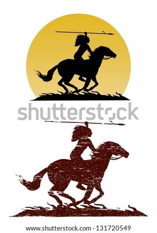 Illustration of American Indian riding horse with spear in hand, vector - stock vector