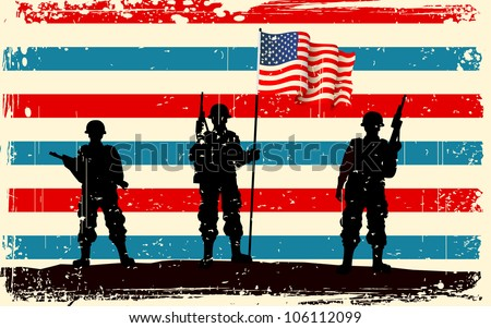 illustration of American soldier standing with American flag - stock vector