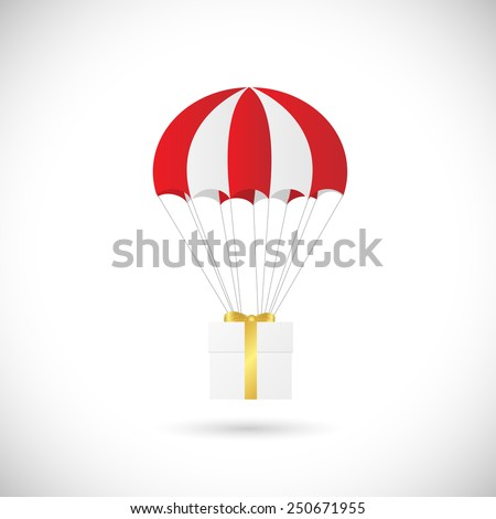 Illustration of an abstract gift box and parachute design isolated on a white background. - stock vector