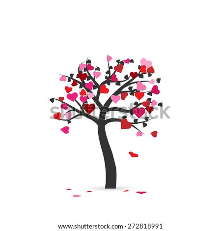 Illustration of an abstract heart tree isolated on a white background. - stock vector